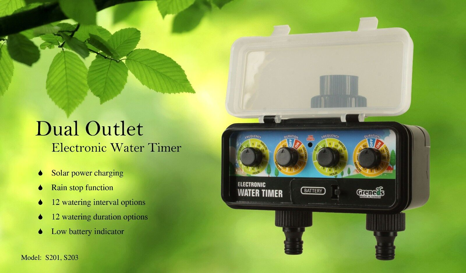 DVS20~ Greneds 2 Zone Water Timer (3~145psi,Solenoid, Solar Charge & RainStop)