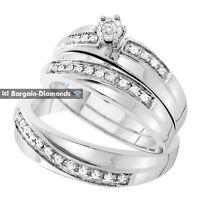 diamond .26-carat 3-ring 14K white gold engagement bridal groom wedding band set