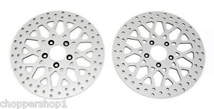 99-039-BELOW-HARLEY-11-5-034-HD-BRAKE-ROTORS-ROAD-KING-2-FRONTS-WITH-CHROME-BOLTS