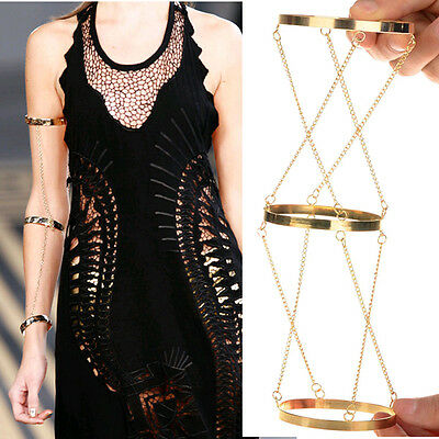 New Gold arm slave harness chain Armlet Upper top arm bracelet bangle arm cuff
