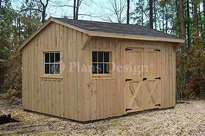 10' x 12' Utility Garden Saltbox Style Shed Plans / Plueprints, Design # 71012