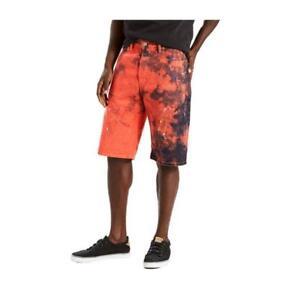 Levis-569-Shorts-Loose-Straight-Denim-Size-36-Red-Splatter-Hot-Lips