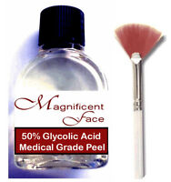 50% Glycolic Acid Skin Peel ++plus Fan Brush ..... Pure All Natural