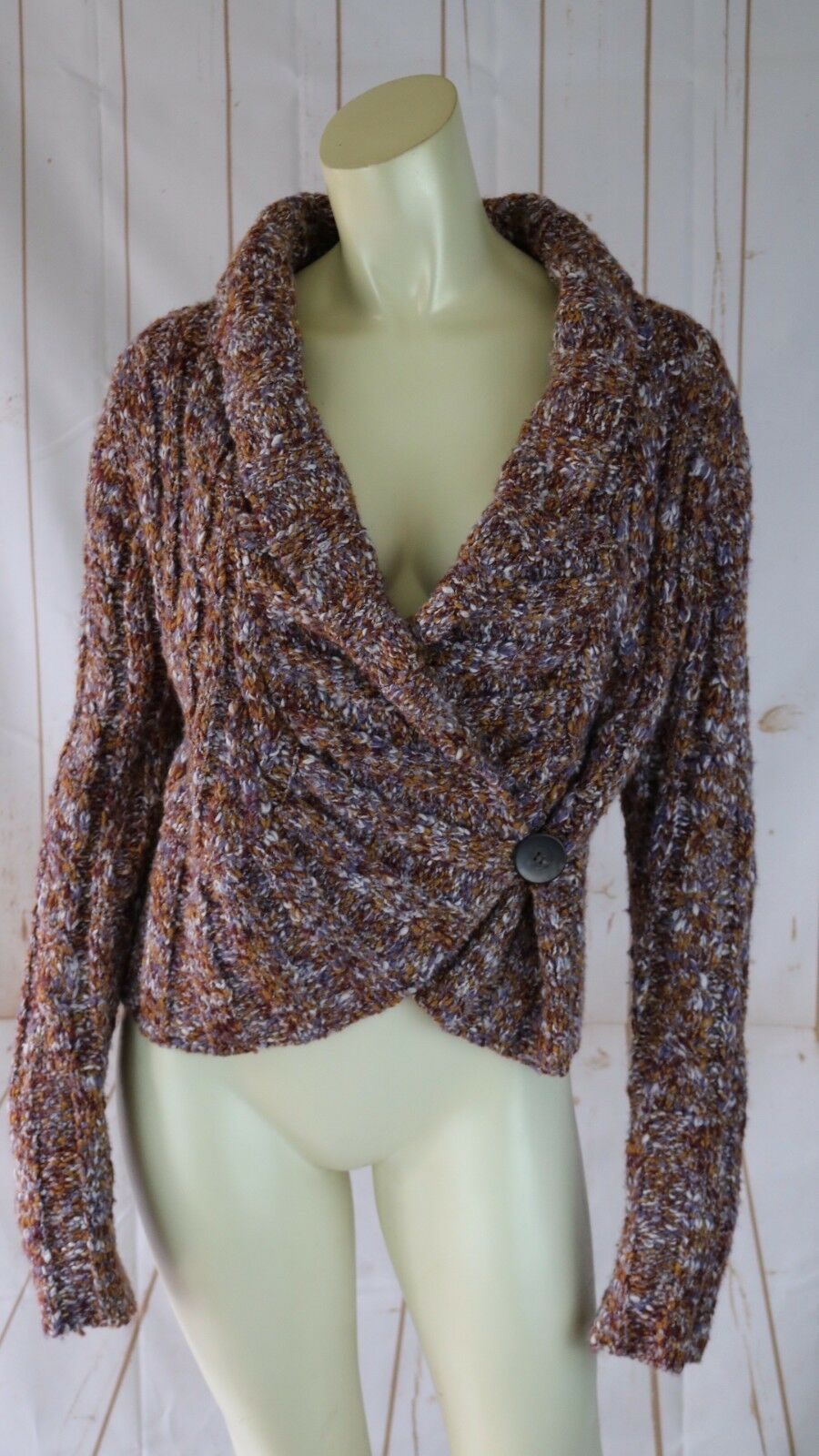 Free People Sweater L Acrylic Nylon Wool Knit Multicolor Shawl Collar Big Button