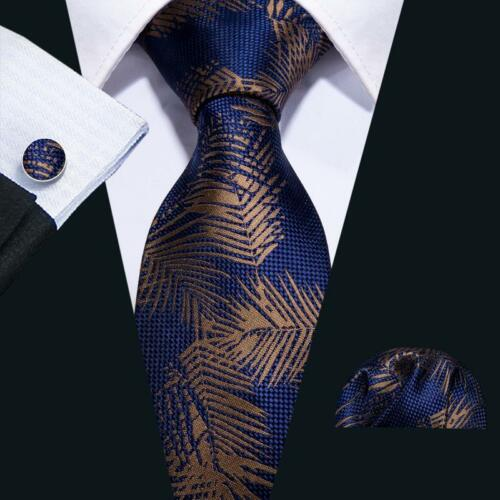 USA Blue Silk Tie Set Mens Brown Floral Necktie Lot Jacquard Woven Wedding Party