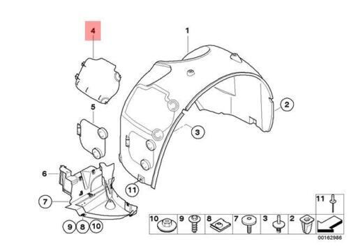 Genuine OEM BMW E85 E86 Front Left Wheel Arch Headlight Access Cover 51717056401