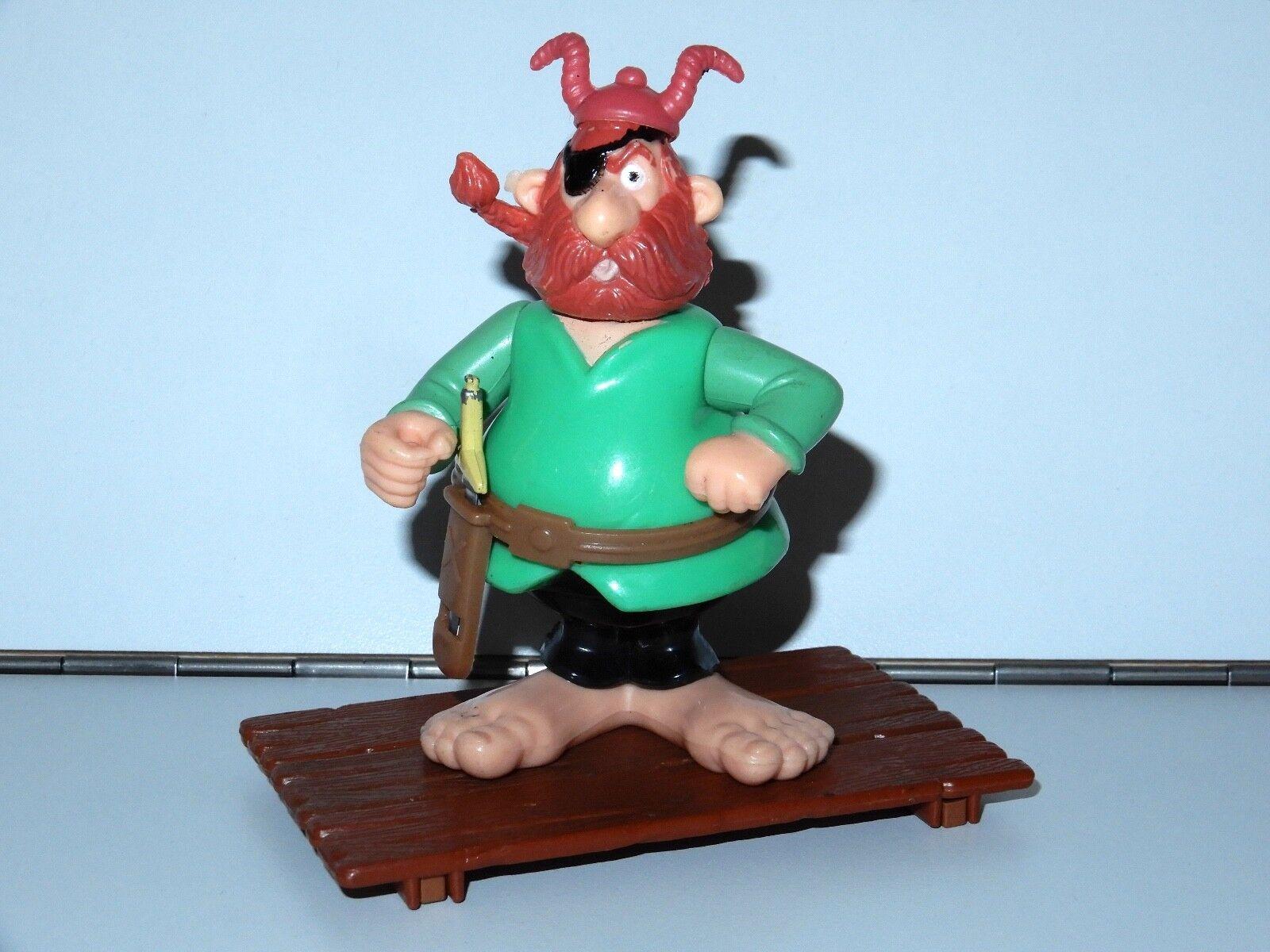 Asterix spielen, action - figuren 6224 pirat rotbeard 100% komplett + floß 80er ceji