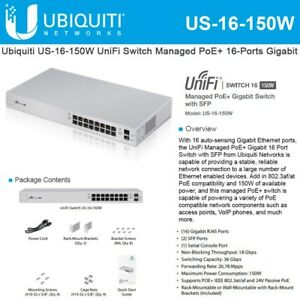 Details about Ubiquiti US-16-150W - UniFi Switch, 16, 150W