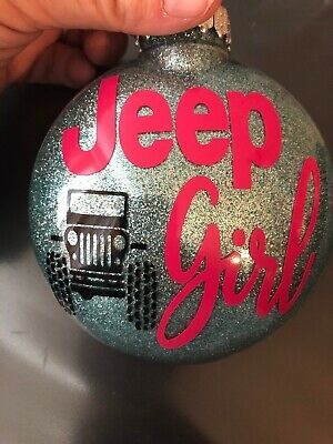 Jeep Girl christmas Ornament  Buffalo Plaid