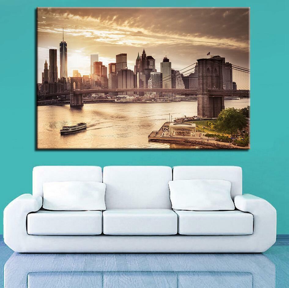 Brooklyn Bridge Downtown Manhattan 1 Panel Canvas Print Wall Art