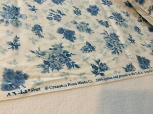 Cranston Fabric Print Works Tan Blue Cotton Quilt /& Sew Small Floral 2 yards