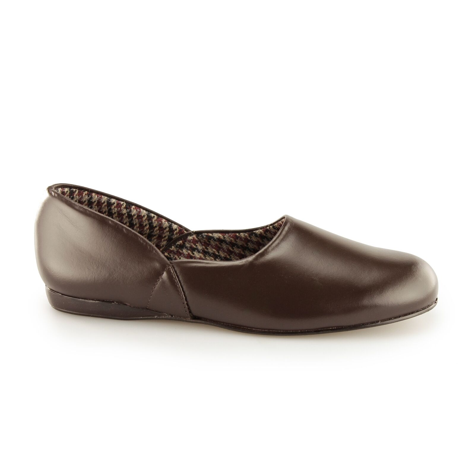 Sleepers ABRAHAM Mens Coated Leather Textile Lining Full Slippers Dark Brown