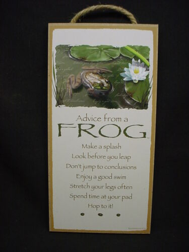 ADVICE FROM A FROG Wisdom Love WOOD SIGN wall hanging PLAQUE Animal Nature USA