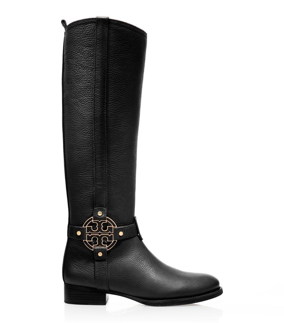 Tory Burch Amanda Tall Flat Riding Stiefel BLACK Leder SZ 5 NEW