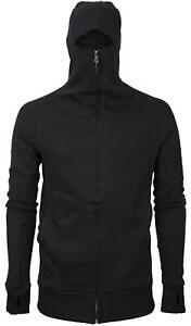 Men-039-s-Zip-Up-Thumbhole-Ninja-Turtleneck-Skinny-Fit-Face-Protection-Hoodie-Jacket