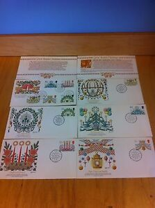 SET of 6 CHRISTMAS DECORATIONS BRITAIN GB UK FLEETWOOD FIRST DAY~F1-L61 *