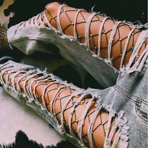 Women Crystal Rhinestone Fishnet Elastic Stockings Big Fish Net Tights Pantyhose