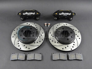 Wilwood-DPHA-Front-Brake-Calipers-Drilled-Slotted-Rotors-Kit-Black-92-00-Civic-E