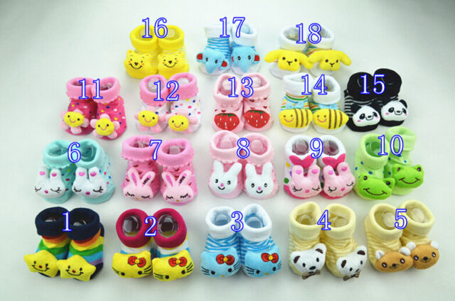 Baby Girl Boy Anti-slip Socks Cartoon Newborn Slipper Shoes Boots 0-6 Months New