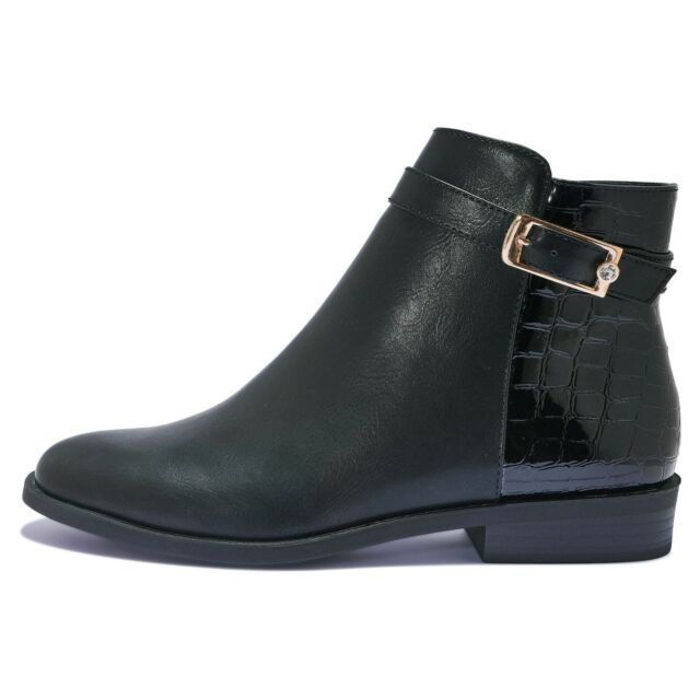 WOMENS ANKLE BOOT BLOCK LOW FLAT HEEL BUCKLE SHOES BOOTS SIZE 4 5 6 7 BLACK CROC