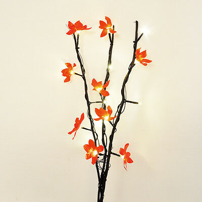 60cm Decorative Black Twigs 15 Warm White LEDs 9 Red Flowers Battery Operated
