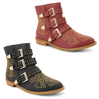 New Dolcis Ladies Stud Buckle Detail Pull On Low Heel Cowboy Ankle Boots UK 3-8