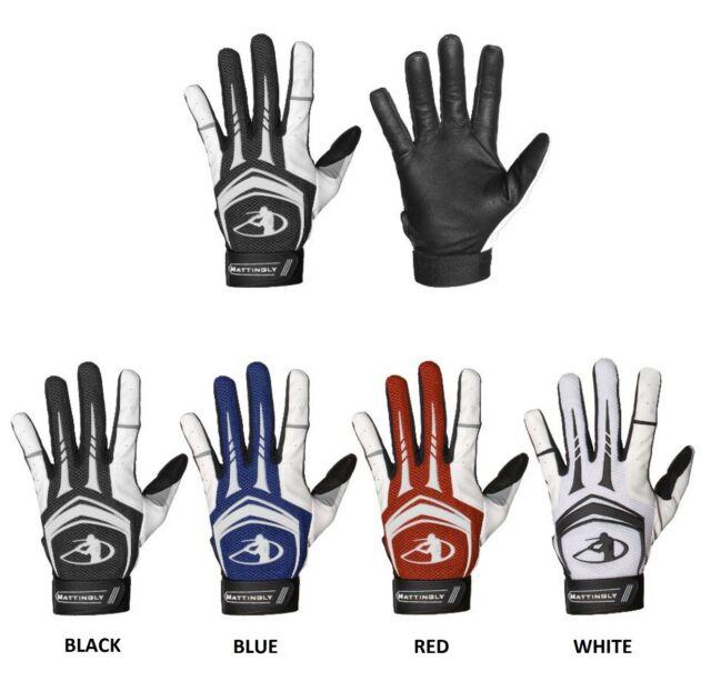 adidas Adult PowerAlley Padded Baseball Batting Gloves Red//White, Medium