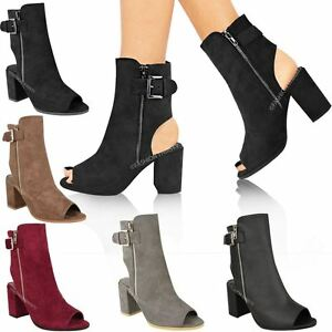 Womens Ladies Ankle Boots Mid Block Heel Peep Toe Open Back ... 0ae1c9b503