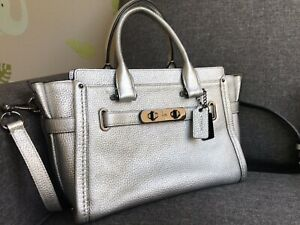 ec4b1079 Details about AUTH COACH SWAGGER 27 METALLIC Silver PLATINUM PEBBLED  LEATHER Crossbody Bag
