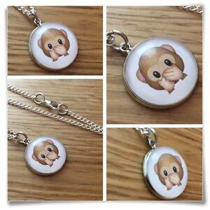 Emoji face Monkey speak no evil  Charm pendant necklace txt geek