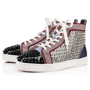 Details about Christian Louboutin Mens Louis Orlato Flat Stripe Spike High Top Sneaker 44.5