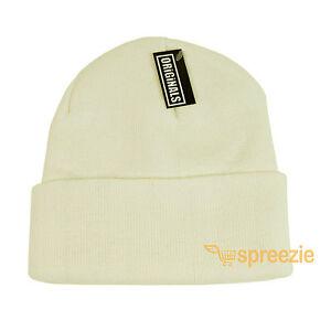 18e82e0285e Cream Beanie Plain Knit Ski Hat Skull Cap Cuff Warm Winter Blank ...