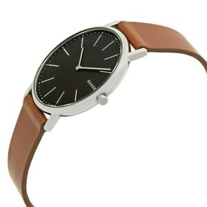 Skagen-Signature-40mm-Grey-Dial-Silver-Tone-Brown-Leather-Men-039-s-Watch-SKW6429