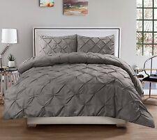 Hudson 3 Piece Pintuck Comforter Set Luxurious Pinch Pleat Oversized Bedding