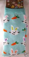 K.bell Aqua Mint Green Carrots And Easter Bunnies Womans Crew Socks