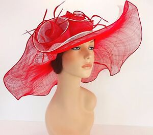 New Church Derby Wedding Party Sinamay 2 Layers Dress Hat 1765 Red & Off White