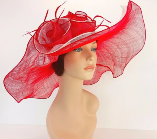 New Church Derby Wedding Party Sinamay 2 Layers Dress Hat 1765 Red /& Off White