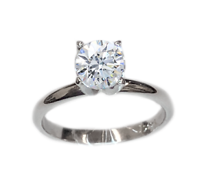 Diamond Solitaire Engagement Ring .92 Carat Set in 14K White gold