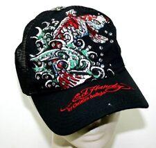 Ed Hardy by Christian Audigier Mesh Snap Back Cap Embroidered Rhinestone EUC