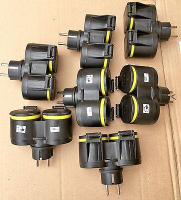 12x GUMMI Doppel Schuko Kupplung STECKER,IP44,Steckdosenverteiler,Steckdosen XX