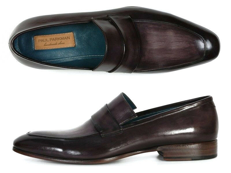 Paul Parkman Men's Loafer Black & Gray Hand-Painted Leather Upper with Leather S