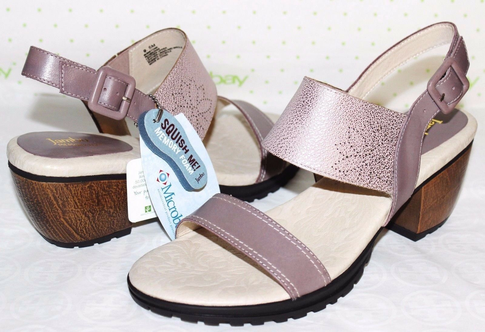 JAMBU Sunstone Memory-Foam Genuine Leather 2.5  Heel Sandals 9.5 M NEW  L@@K