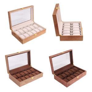 Men-039-s-Wrist-Watch-Box-Portable-Wooden-Display-Case-Jewelry-Storage-Holder