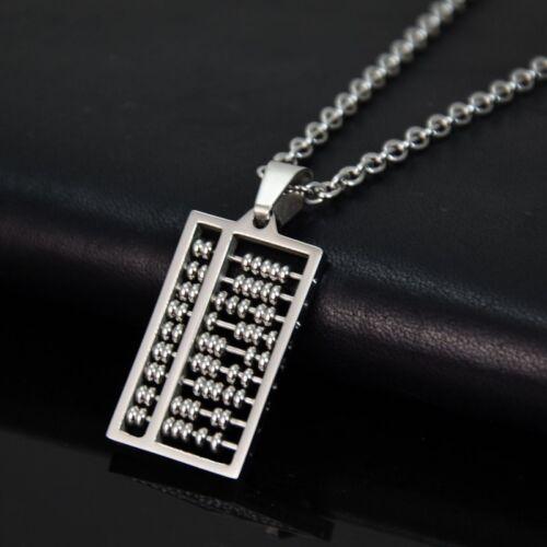Edelstahl Halskette mit 3D Anhänger Chinesischer Abakus SuanPan Silber Farbe NEU