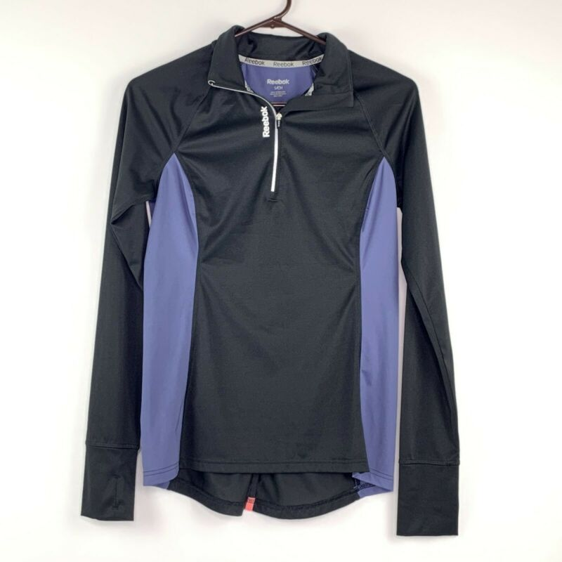 Reebok Womens Quick Dry 1/4 Zip Pullover Running Jacket Dark Gray Purple Small
