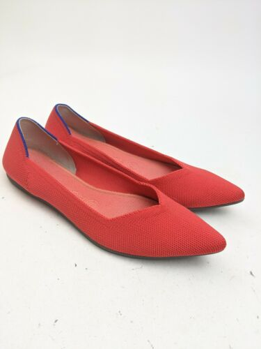 Rothy's Red Point Toe Ballet Flats Sz 8