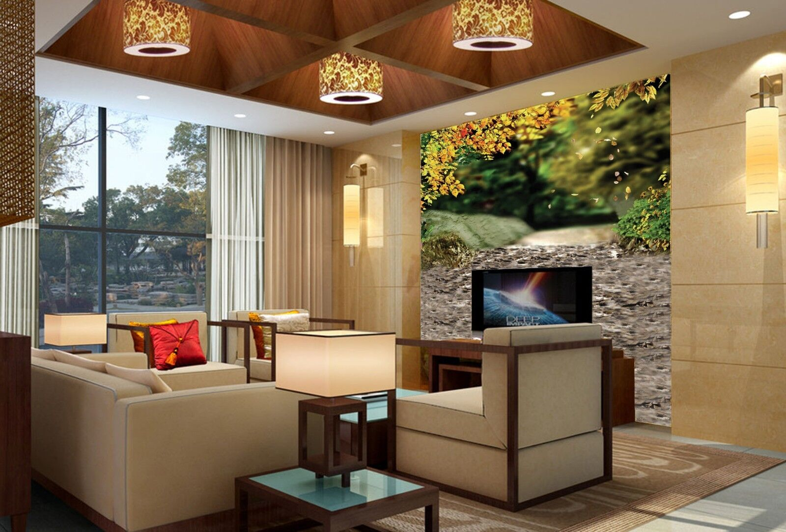 3D Forest Road Paper Wall Print Wall Decal Wall Deco Indoor Murals
