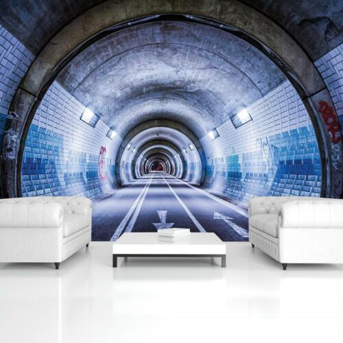 Vlies Fototapete Tapete Poster   F17688 Tunnel Straße Weg Blau Straßentunnel