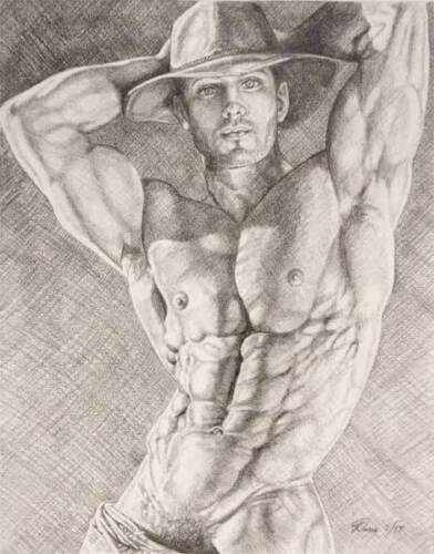 """9/"""" x 12/"""" drawing print nude male cowboy with arms up gay interest"""