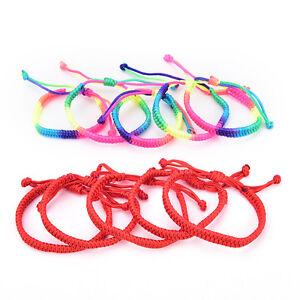 5x double couche rouge arc-en-ciel ficelle tressé corde hommes femmes braceletI